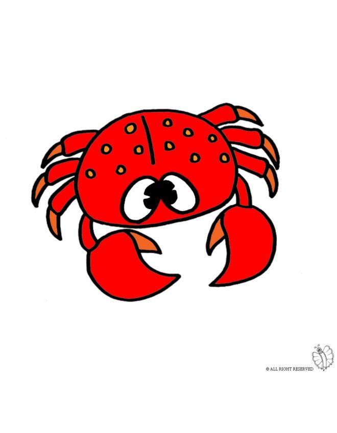 Disegno di granchio a colori per bambini gratis for Disegni di pesci da stampare