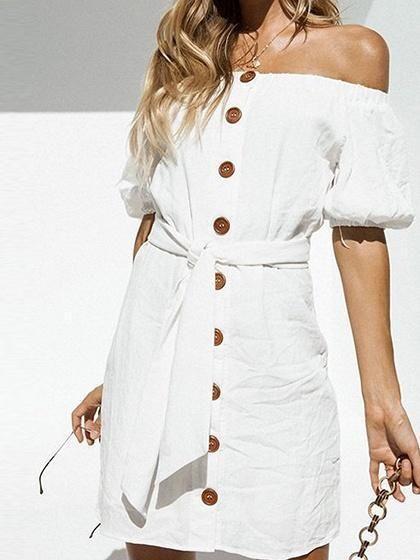 e9e812df6da White Cotton Off Shoulder Button Placket Front Chic Women Mini Dress –  risechic.com