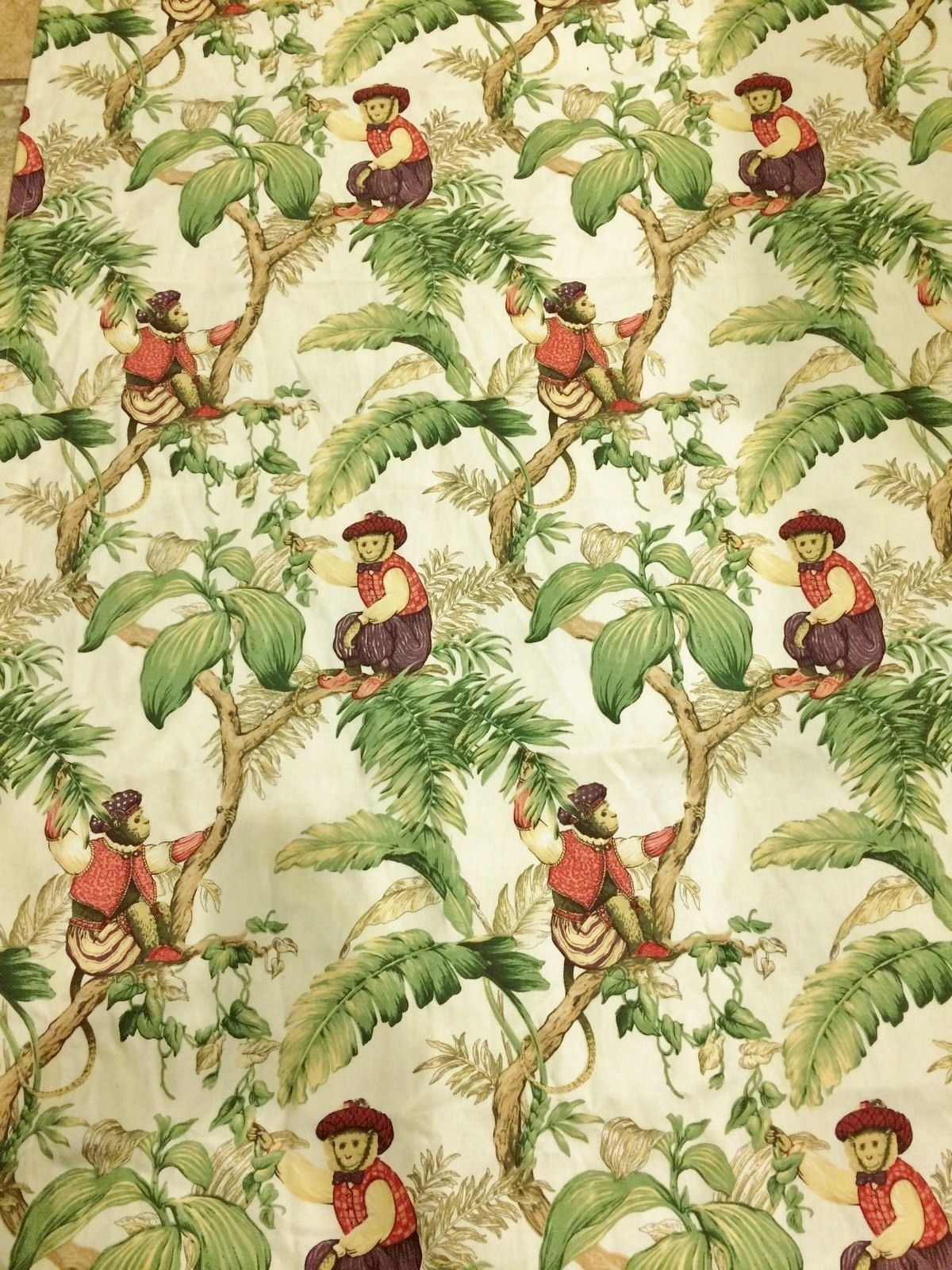 Vohann Pale Yellow French Monkey & Palm Tree Fabric Shower Curtain ...