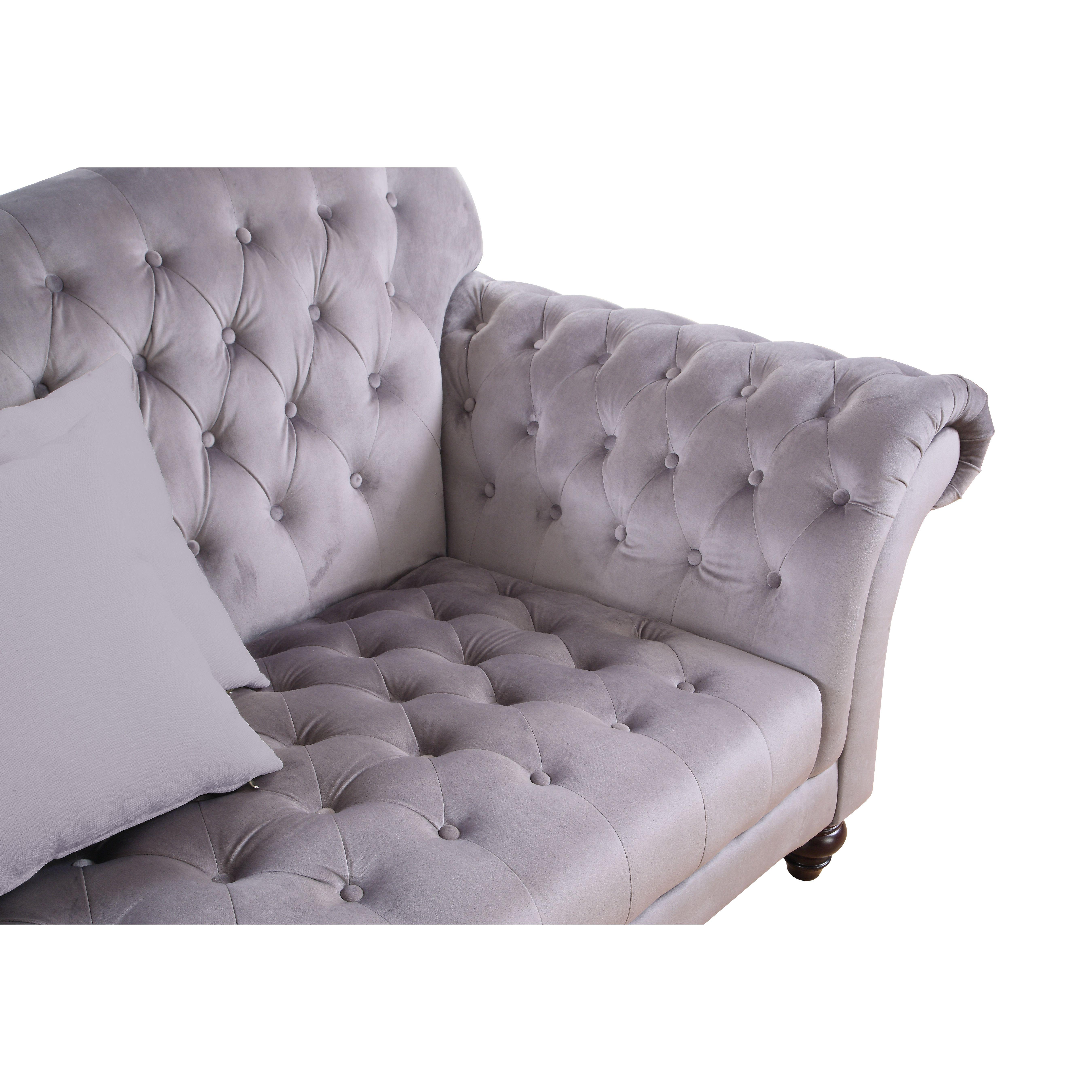 $700 sofa on Wayfair grey velvet cushions not removable