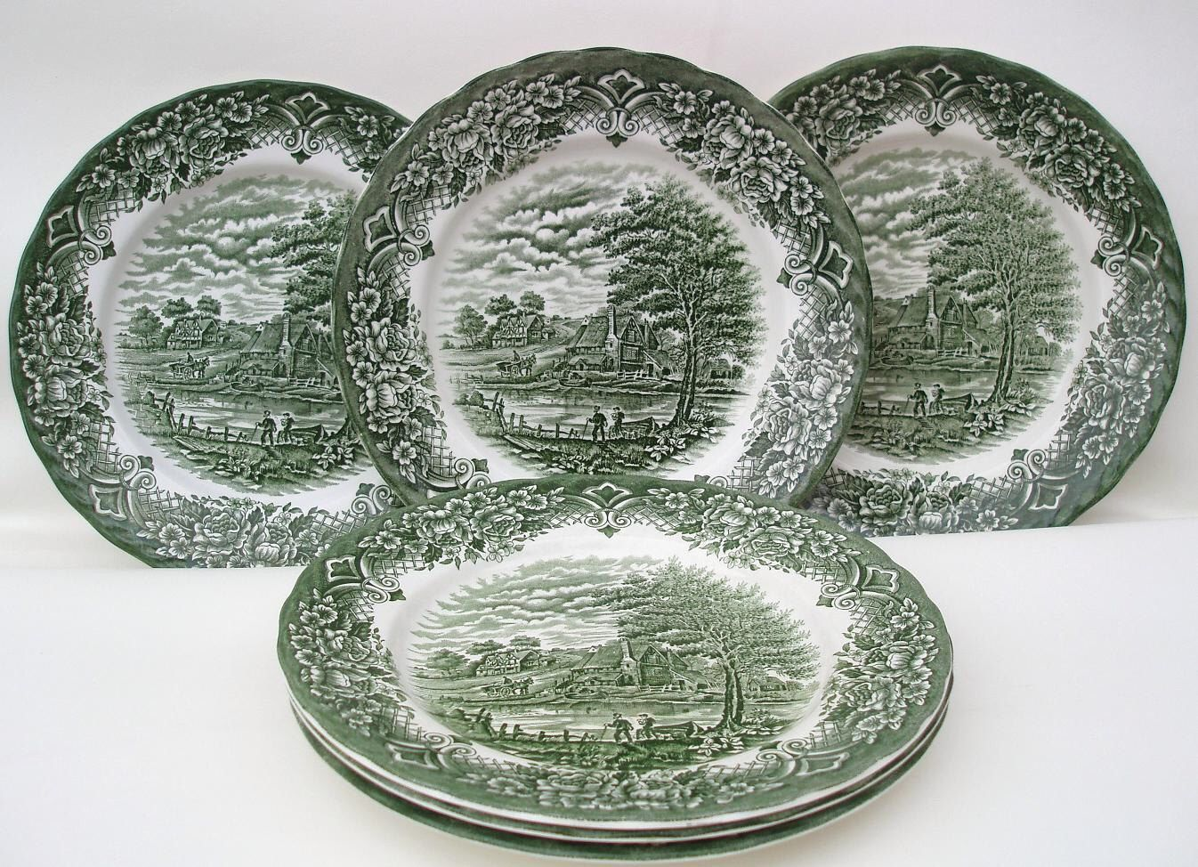 Vintage Wh Grindley Dinner Plates Green Transferware Staffordshire Pottery 10 Dinnerware Homeland Pattern Set Of