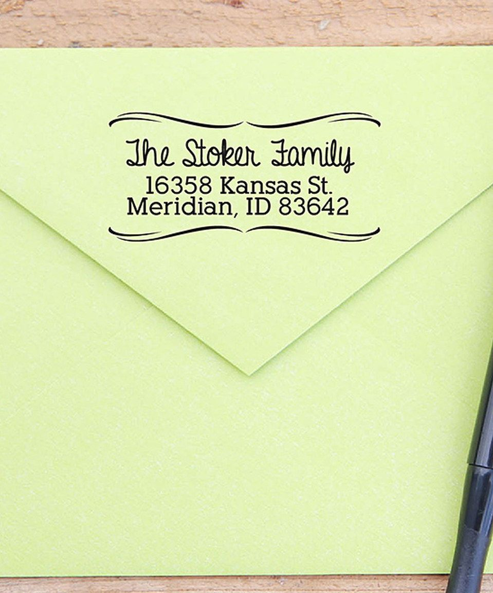 Loving this Swoop Border Return Address Personalized Rubber Stamp on #zulily! #zulilyfinds