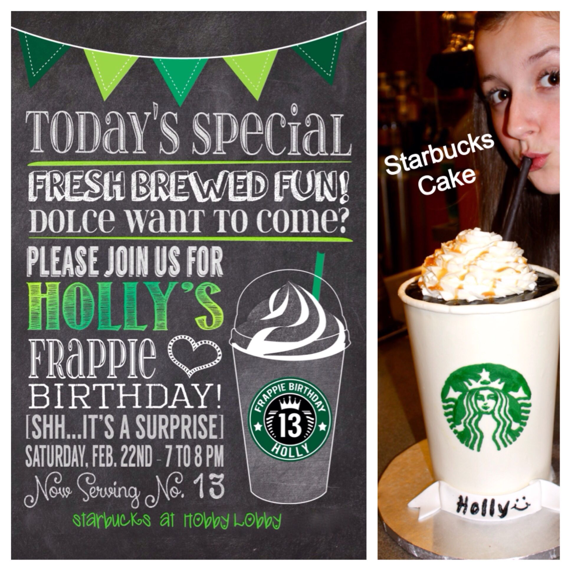 Free Birthday Starbucks ~ Frappie birthday invite from etsy and starbucks frappuccino cake perfect th fun