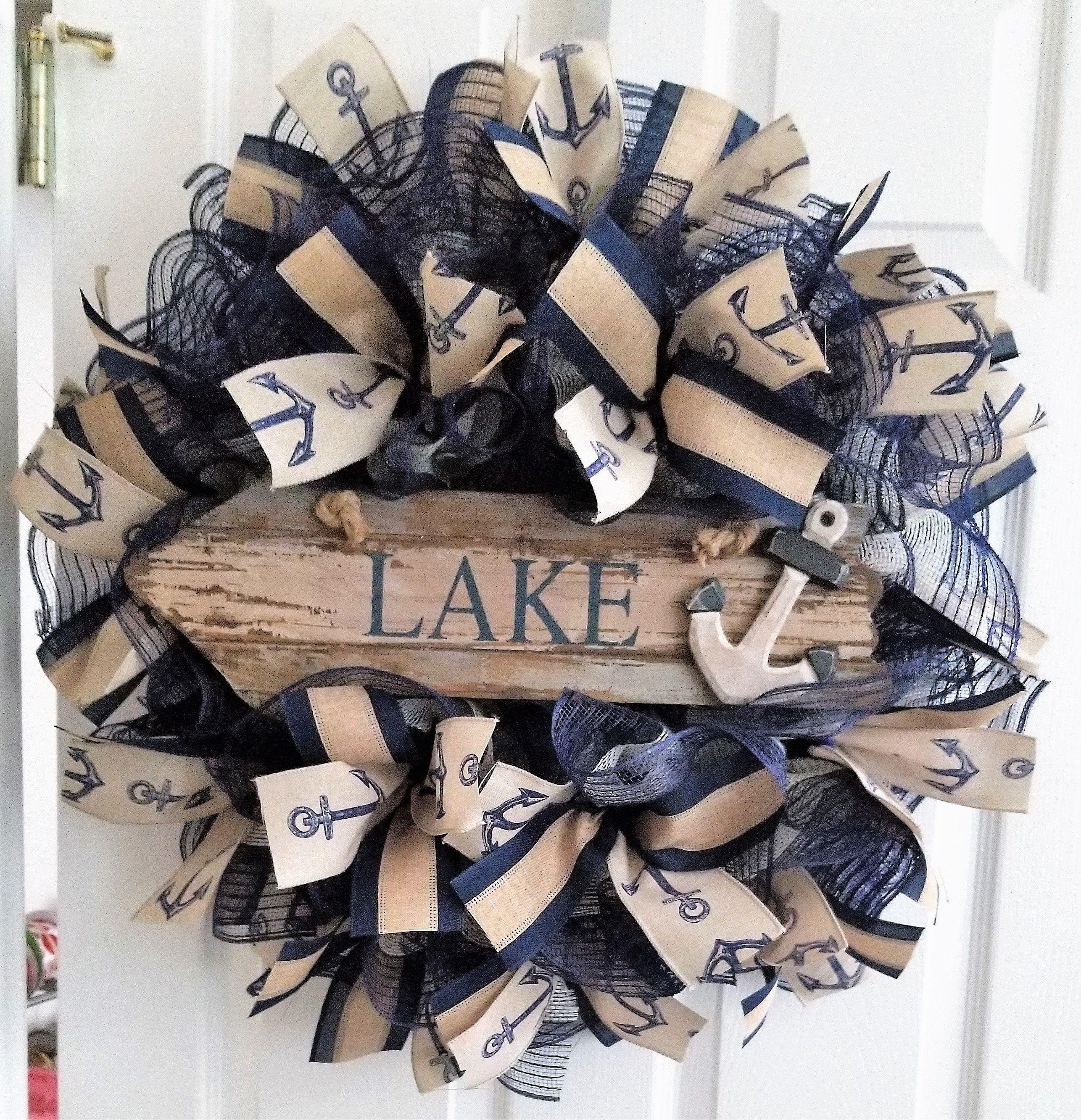 Wreath For Lake House Lake Door Wreath Nautical Summer Wreath