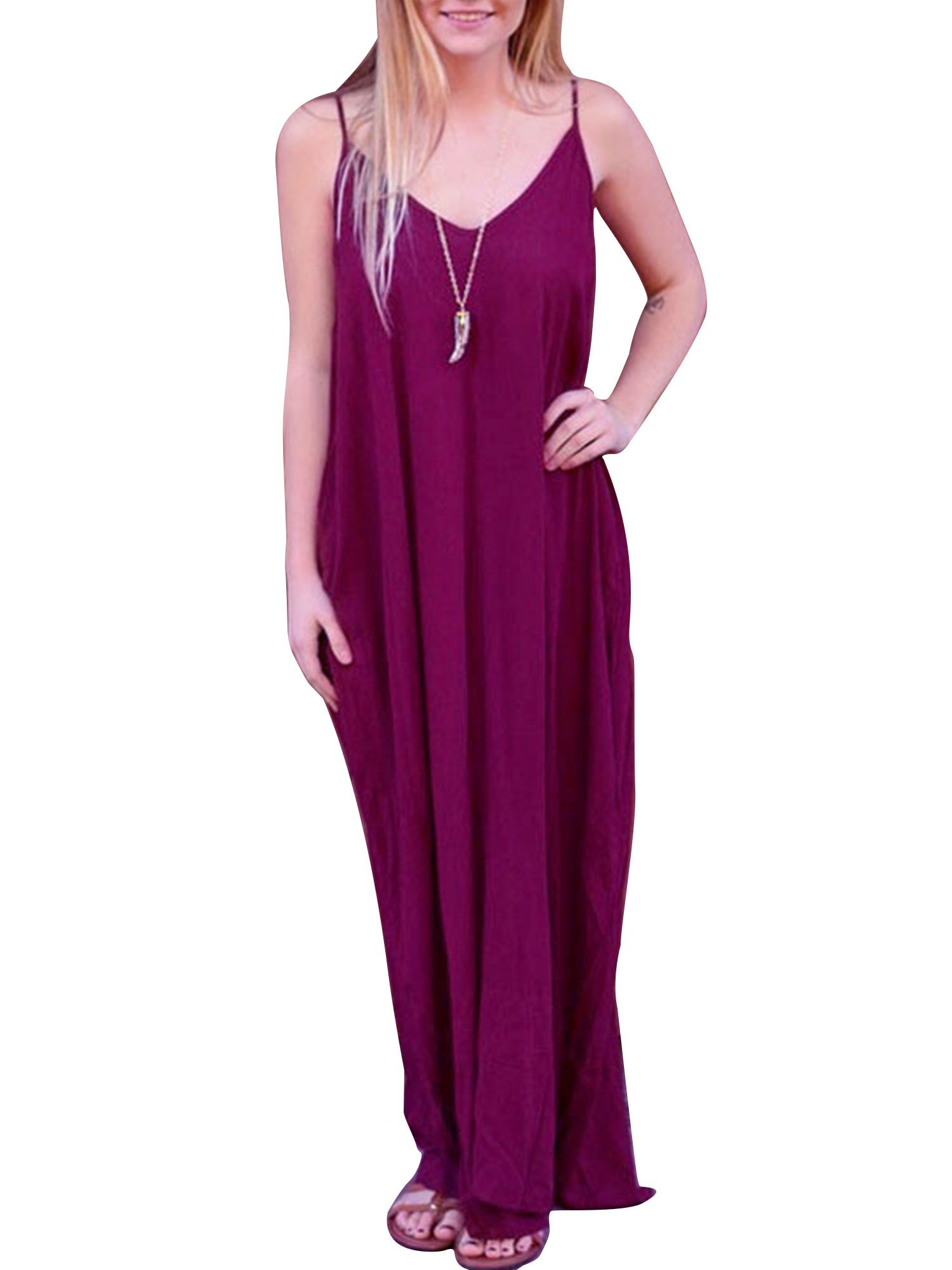 5c724c93e2a9e Spaghetti Strap Sun Dress For Women V Neck Sleeveless Dress Ladies Boho  Style Long Maxi Loose Baggy Kaftan Dresses #Neck, #AD, #Women, #Ladies