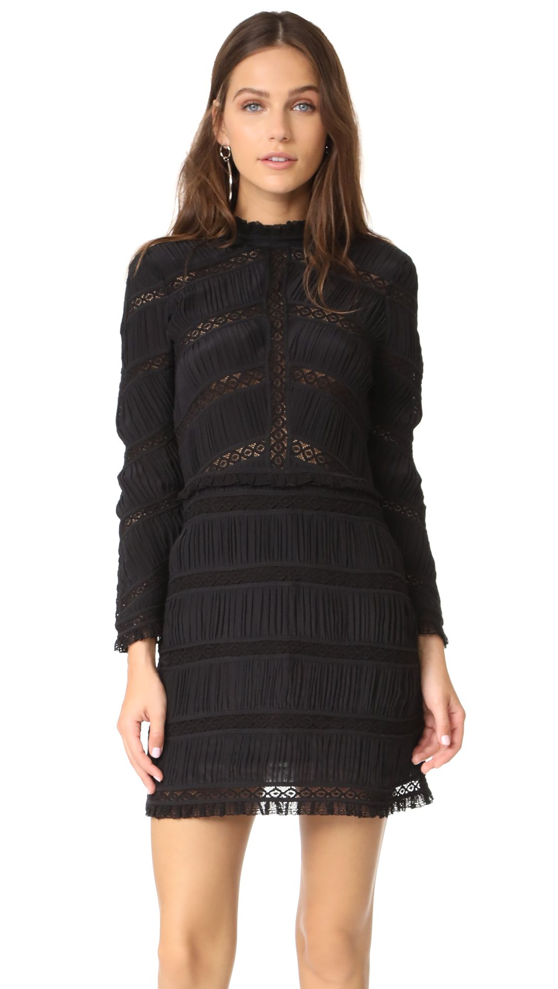 Kitty Lace-paneled Plissé Silk-chiffon Mini Dress - Black Ulla Johnson EzmdUUXE