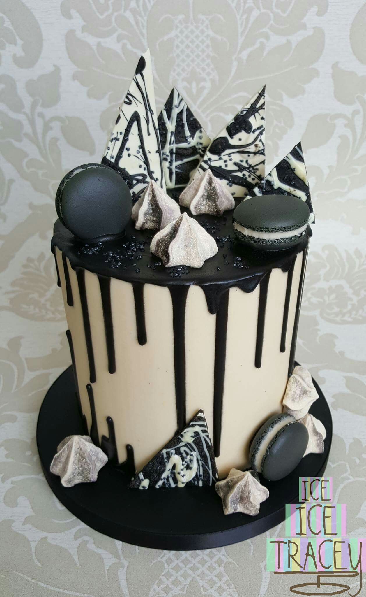 Wondrous Black And White Drip Cake 21St Birthday Cakes White Birthday Funny Birthday Cards Online Alyptdamsfinfo