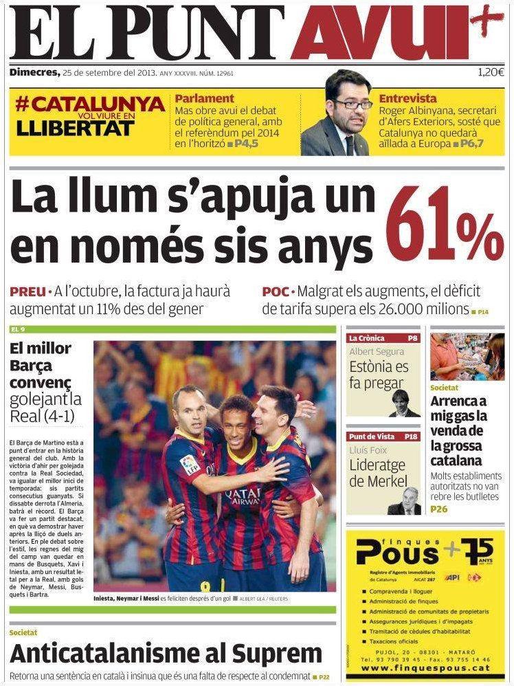 Los Titulares y Portadas de Noticias Destacadas Españolas del 25 de Septiembre de 2013 del Diario El Punt Avui ¿Que le pareció esta Portada de este Diario Español?