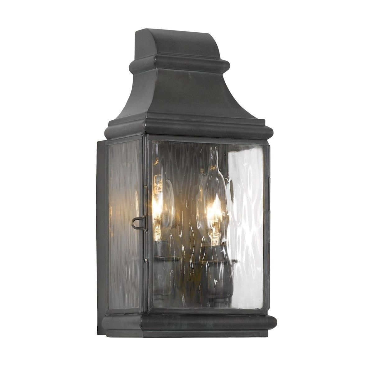 Jefferson outdoor wall sconce in charcoal and water glass elk c
