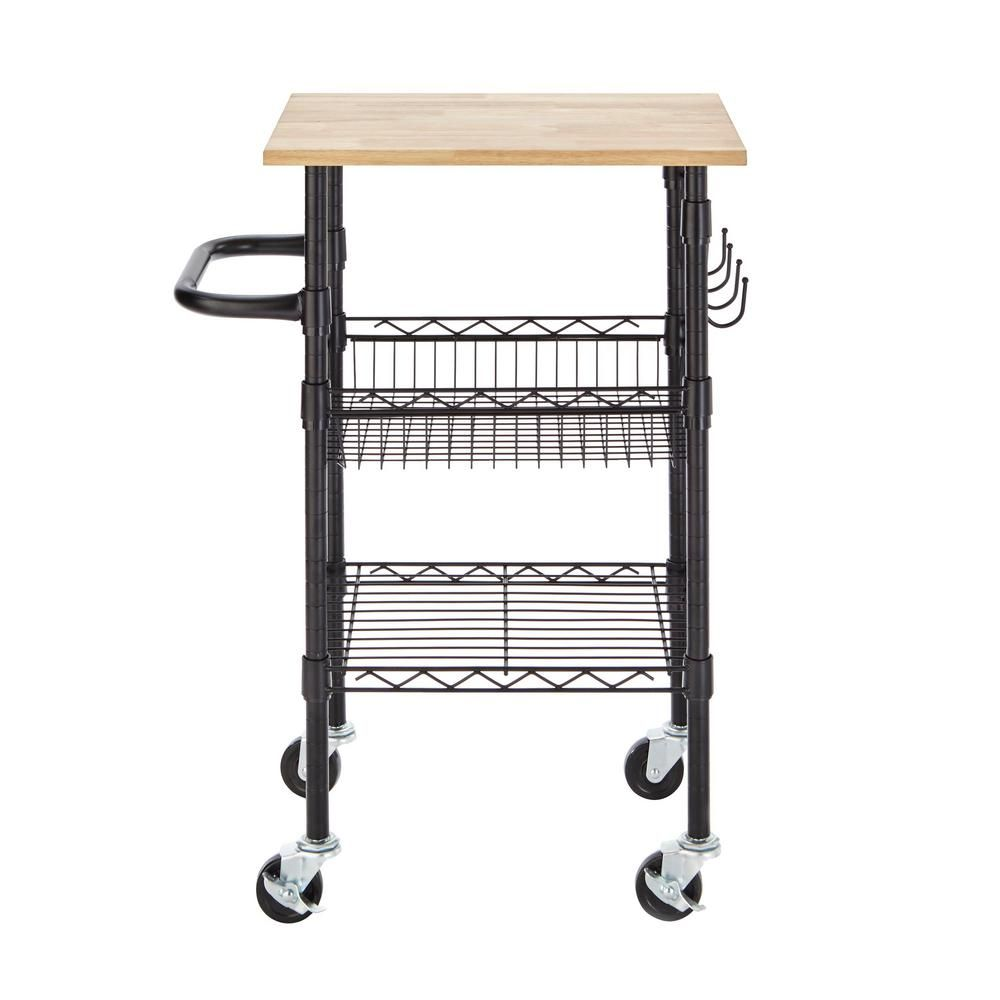 Stylewell Gatefield Chrome Small Kitchen Cart With Stainless Steel Top H17110702 Small Kitchen Cart Kitchen Cart Small Kitchen