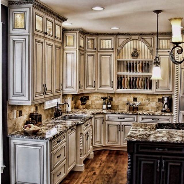 Ivory Glazed Kitchen Cabinets: Rustic Kitchen Cabinets, White Kitchen Cabinets
