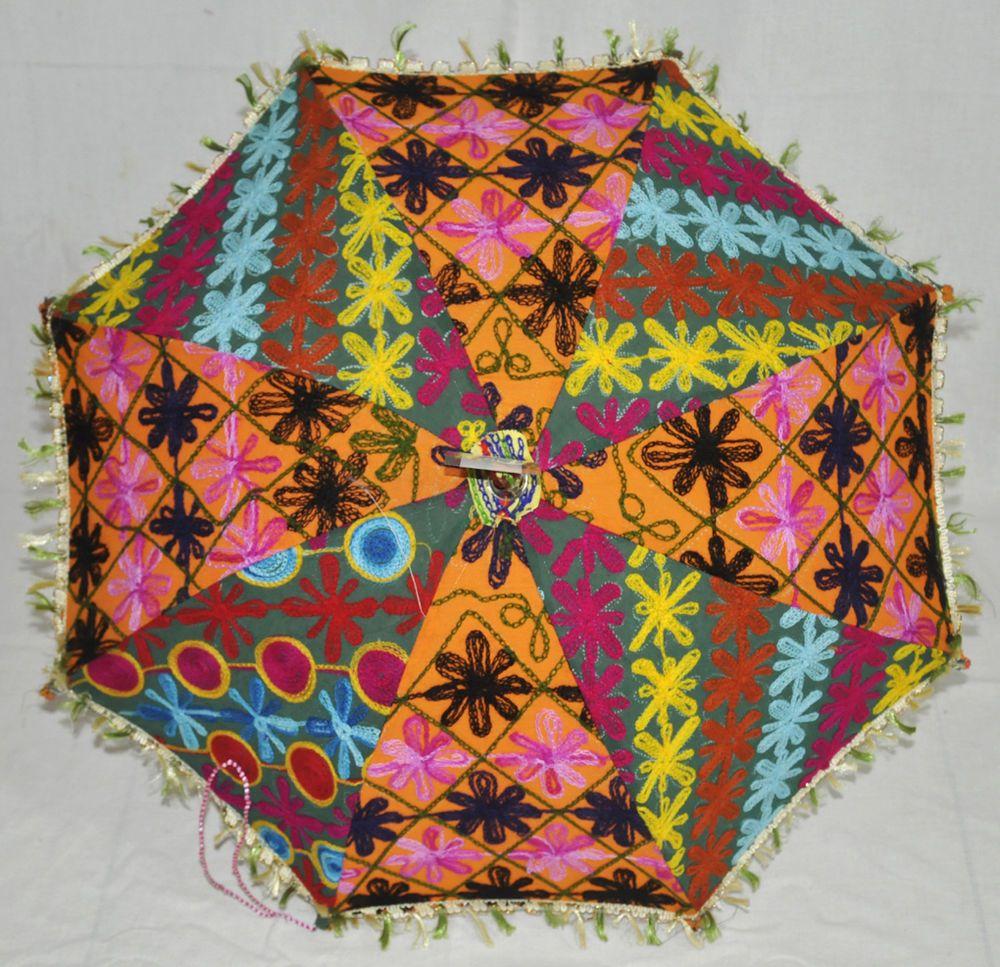 Indian Embroidered Fashion Vintage Decor Summer Umbrella Sun Protection Parasol #Lalhaveli #Parasol