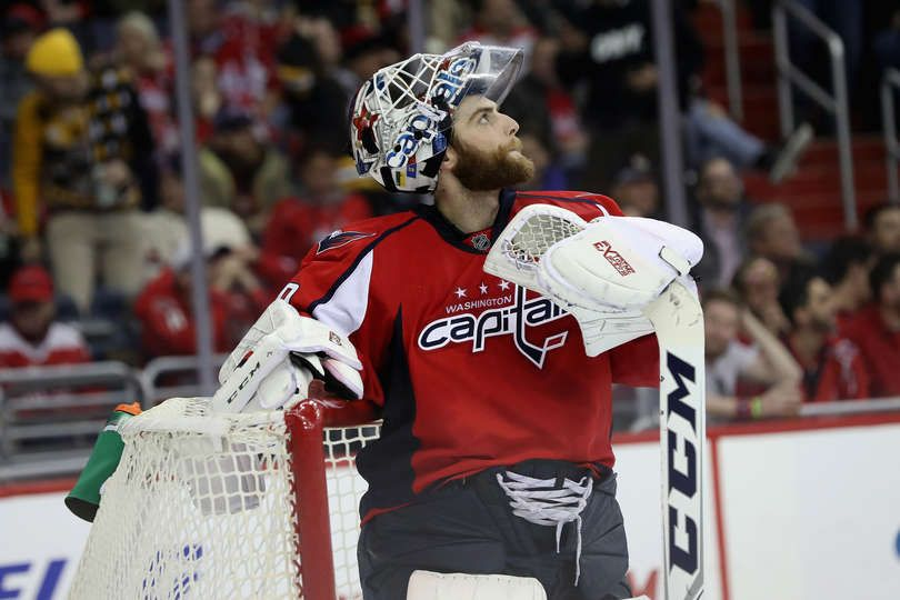 WASHINGTON, DC - DECEMBER 07: Goalie Braden Holtby #70 of the Washington Capitals looks on against the Boston Bruins at Verizon Center on December 7, 2016 in Washington, DC. (Photo by Rob Carr/Getty Images)