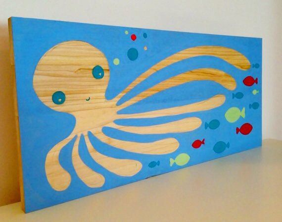 octopus ocean theme nautical nursery wall art kids room art nursery