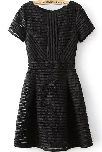 Black Striped With Romwe Flare Zipper Dress Style Pinterest xqIx7p4wBg