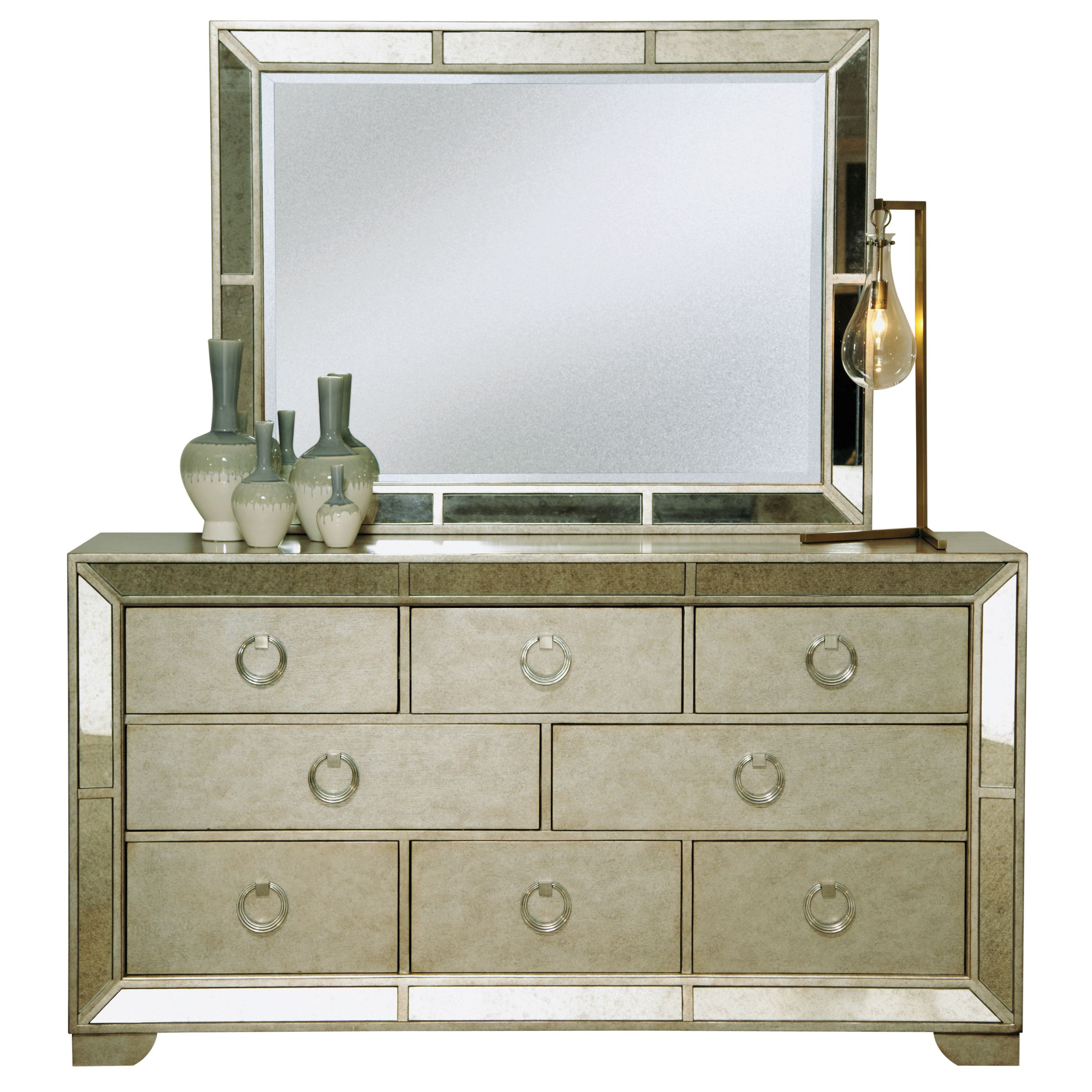Celine 5 Piece Mirrored And Upholstered Tufted Queen Size Bedroom Set    Overstock.