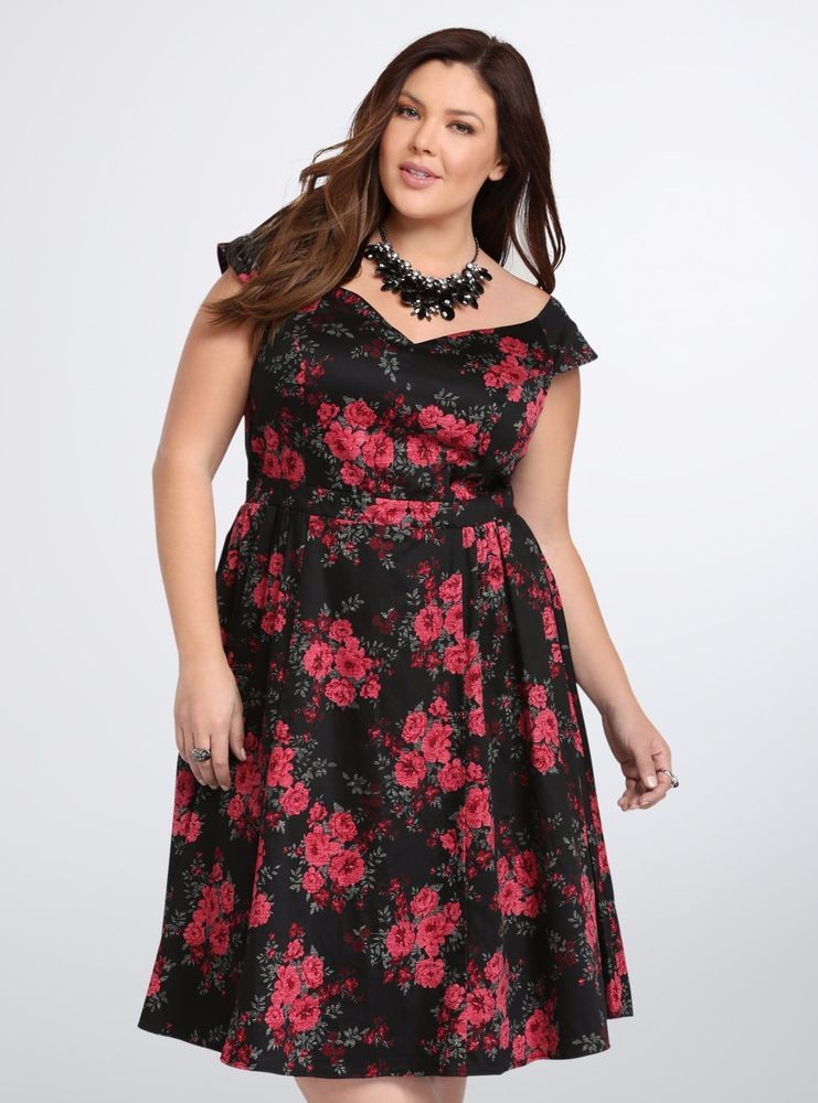 7c08867ee9454 *NWT* TORRID Floral Off Shoulder Swing Dress Black Red Roses Pinup Retro Sz  16 #Torrid #StretchBodyconFitFlare