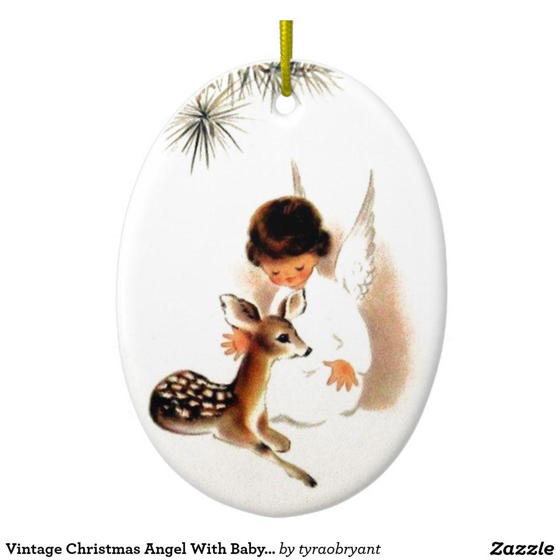 Vintage Christmas Angel With Baby Deer Ceramic Ornament