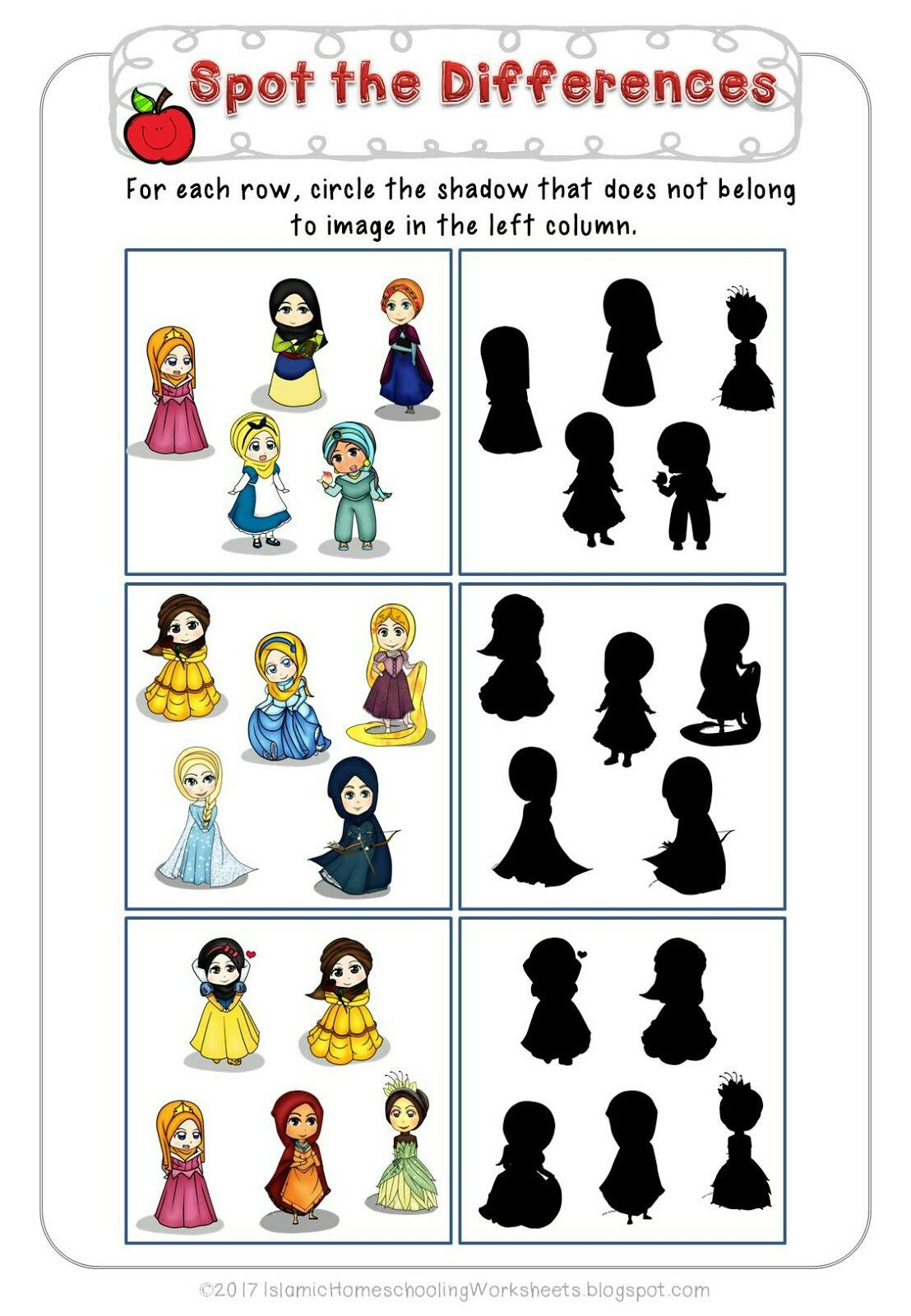 Spot The Differences In Free Disney Princess Preschool