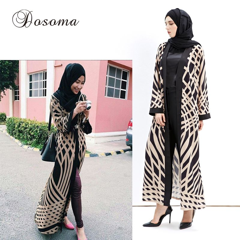 Fashion Islamic Muslim Pattern Maxi Dress Print Cardigan Robes Abaya  Turkish Instant Hijab Knitting Cotton Vestidos 94c9831ce3