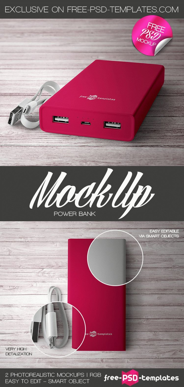 2 Free Power Bank Mock Up In Psd Avec Images