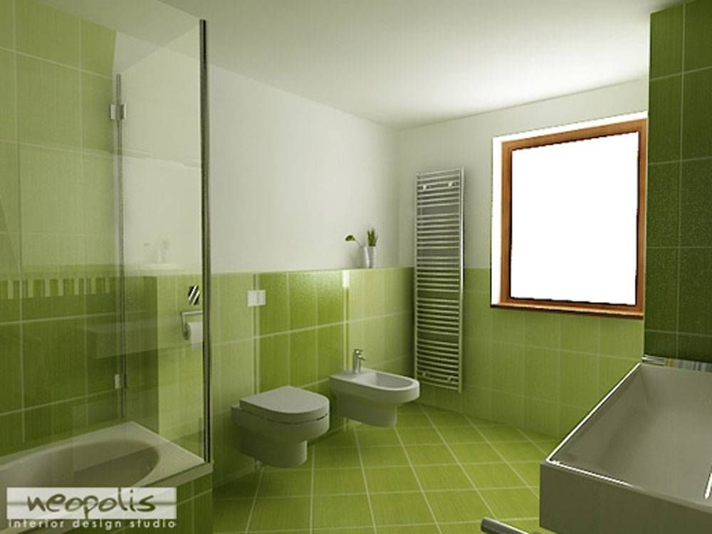 Green Wall And Floor Tiles With White Bathroom Stuff For Cool Green Bathroom