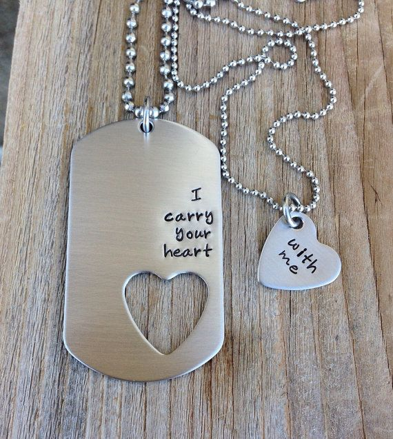 I carry your heart with me his and her gift stainless steel heart tag hand stamped