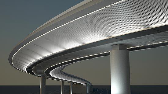 ILUMINAÇÃO DE VIADUTO - iluminação em LED e placas metálicas
