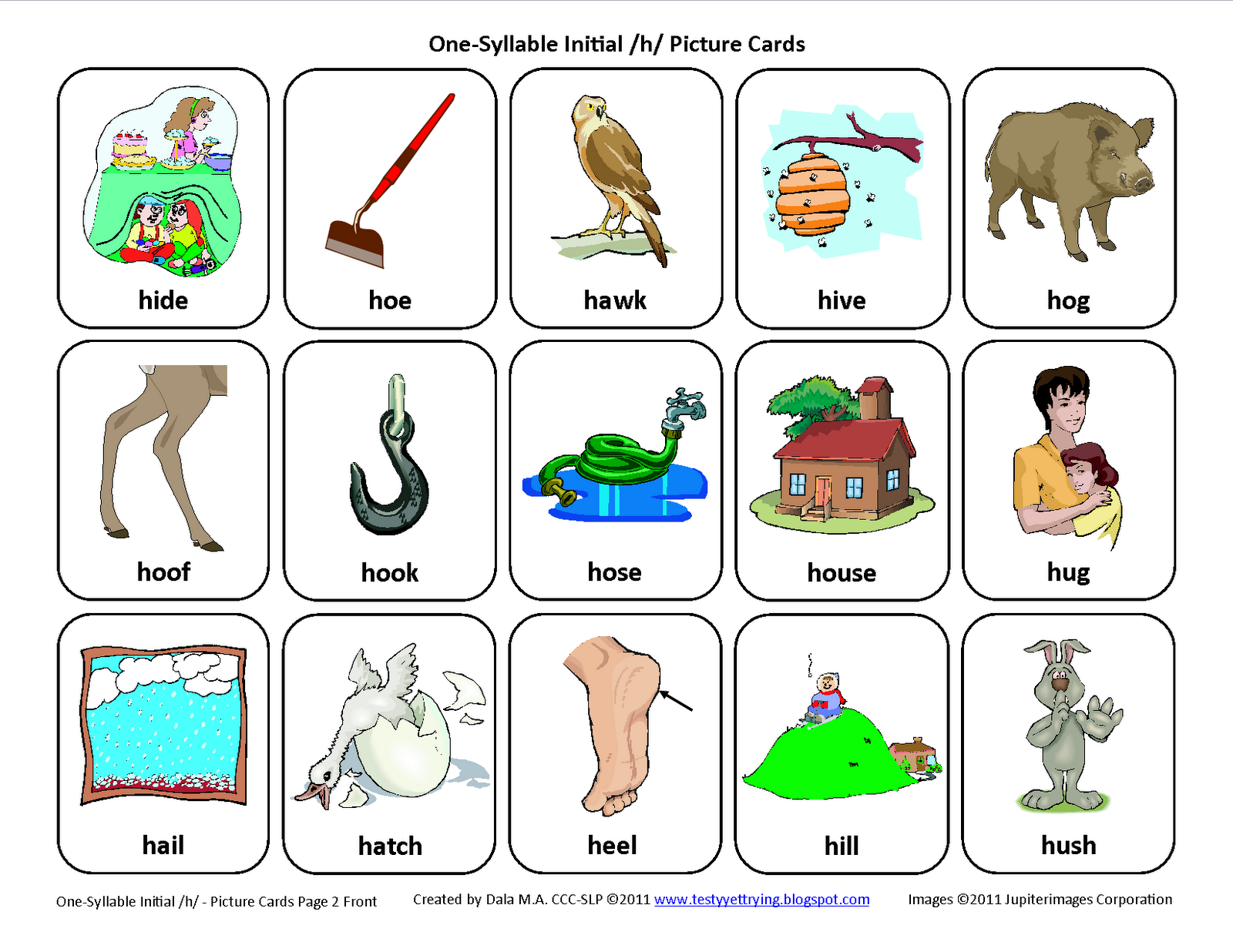 Initial H Free Speech Therapy Articulation Picture Cards