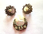 Vintage MOP and filigree earrings with faux pearl clusters