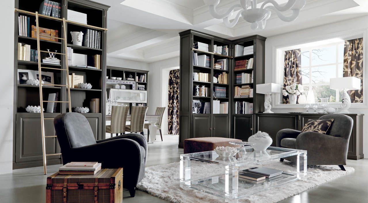 Martini Mobili ~ Salotto classico di lusso grigio con libreria martini mobili