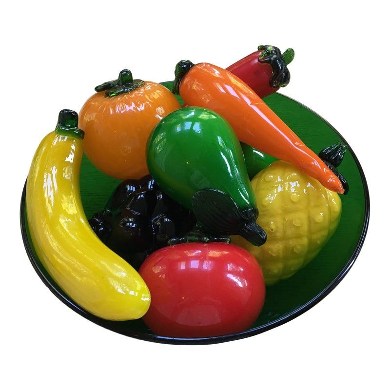 Bowl Of Hand Blown Glass Fruit And Vegetables 10 Pieces In 2020 Glass Blowing Green Glass Bowls Hand Blown Glass