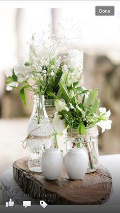bandscheiben mit vasen vintage hochzeit pinterest bandscheiben tischdeko hochzeit und. Black Bedroom Furniture Sets. Home Design Ideas