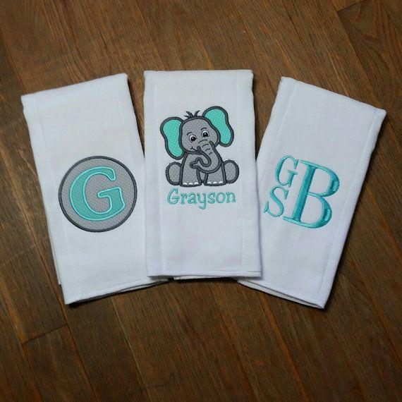 Personalized Burp Cloth Set Personalized by JessicaJosMonoNMore