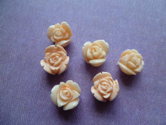 1 Carved Coral Rose by CaityAshBadashery on Etsy, $3.50