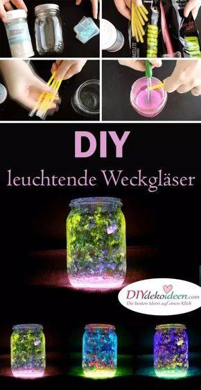 Mit diesem Trick erleuchtet deine DIY Windlicht-Deko aus Weckgläser! #weihnachtsgeschenkebasteln
