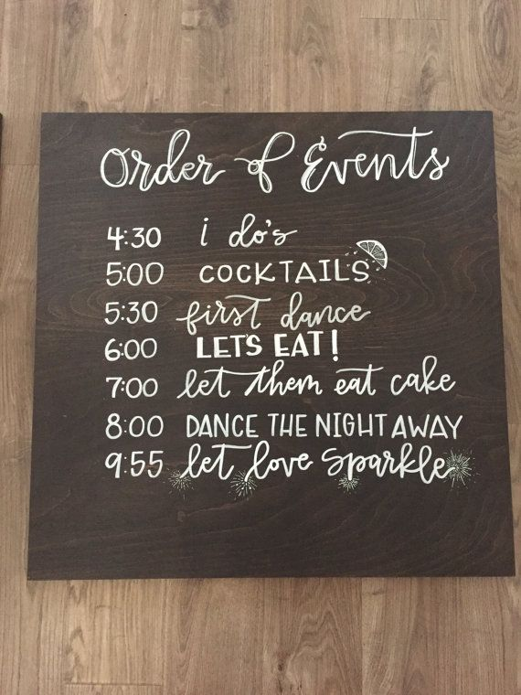 Wedding Order Of Events Timeline Sign By
