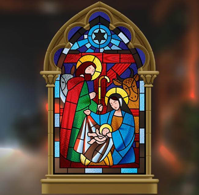Stained Glass Nativity Scene Christmas window, Window