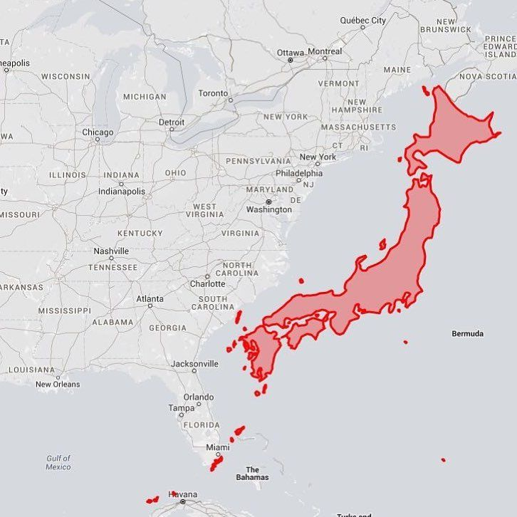 Japan next to the USA East Coast Have you ever realized Japan was