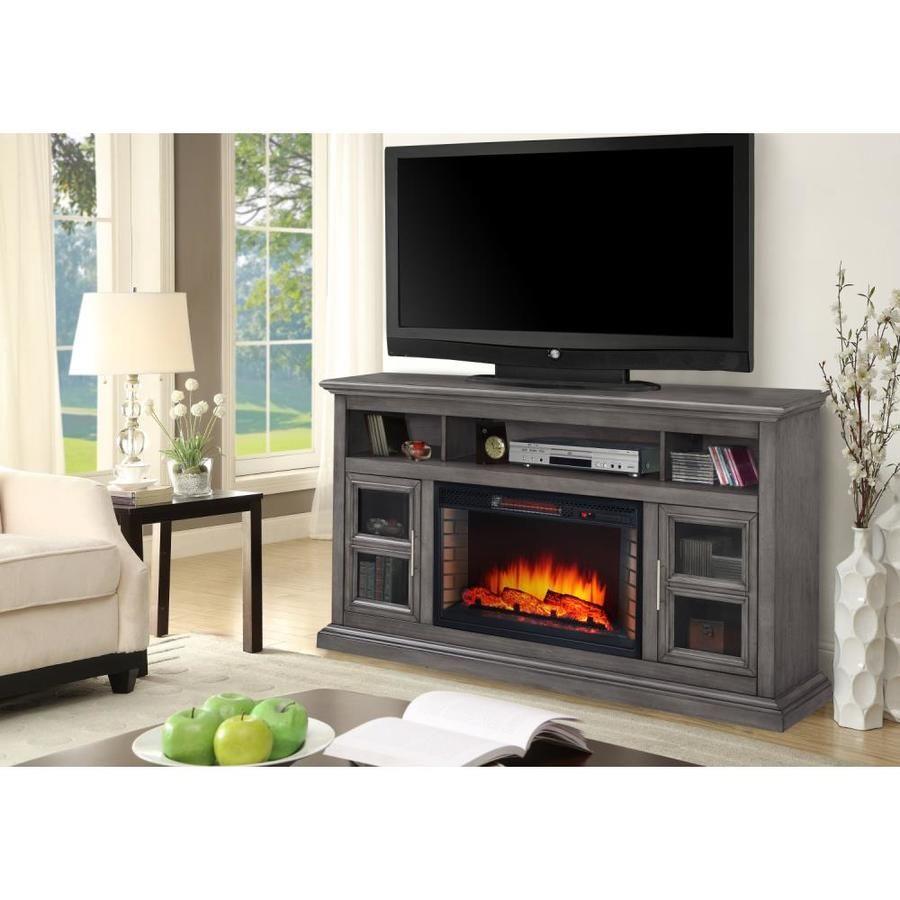 Muskoka 58 In W Dark Weathered Gray Fan Forced Electric Fireplace Lowes Com Fireplace Tv Stand Electric Fireplace Tv Stand Built In Electric Fireplace