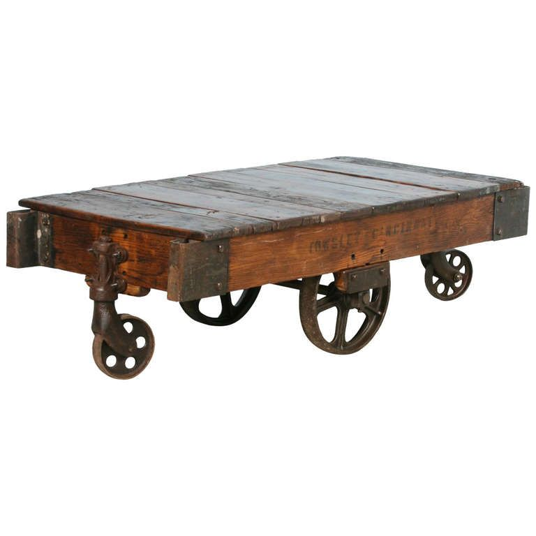 Antique vintage luggage cart coffee table circa 1920 with cast iron wheels cart coffee table Antique wheels for coffee table
