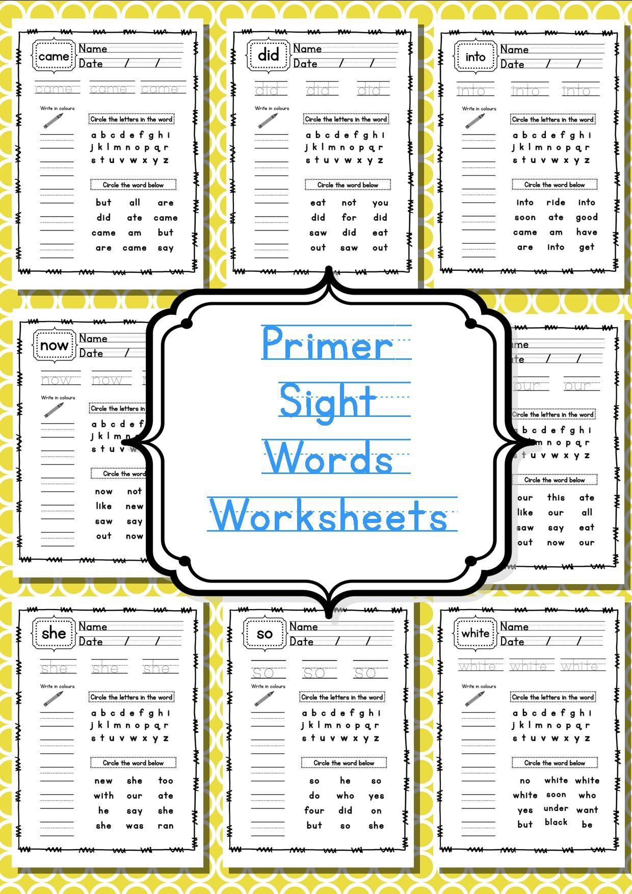 Primer Sight Word Worksheets Sight words list and Worksheets