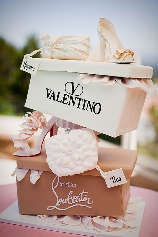 Valentino shoe box pinata Designer Shoe Cake custom party decor GlamLuxePartyDecor: FREE SHIPPING! Creative, Unique, Personalized Glamorous Designer Party Decorations and keepsakes. Theme party Decor packages. 1st Birthday parties, pink princess tutu, weddings, christenings, holiday celebration, bridal shower, babyshower, bachelorette, Super Bowl, etc. #jacquelineK