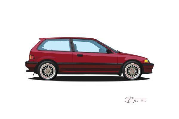 1989 Honda Civic Si Print J7artwork Honda Civic Honda Civic Si Honda Civic Vtec