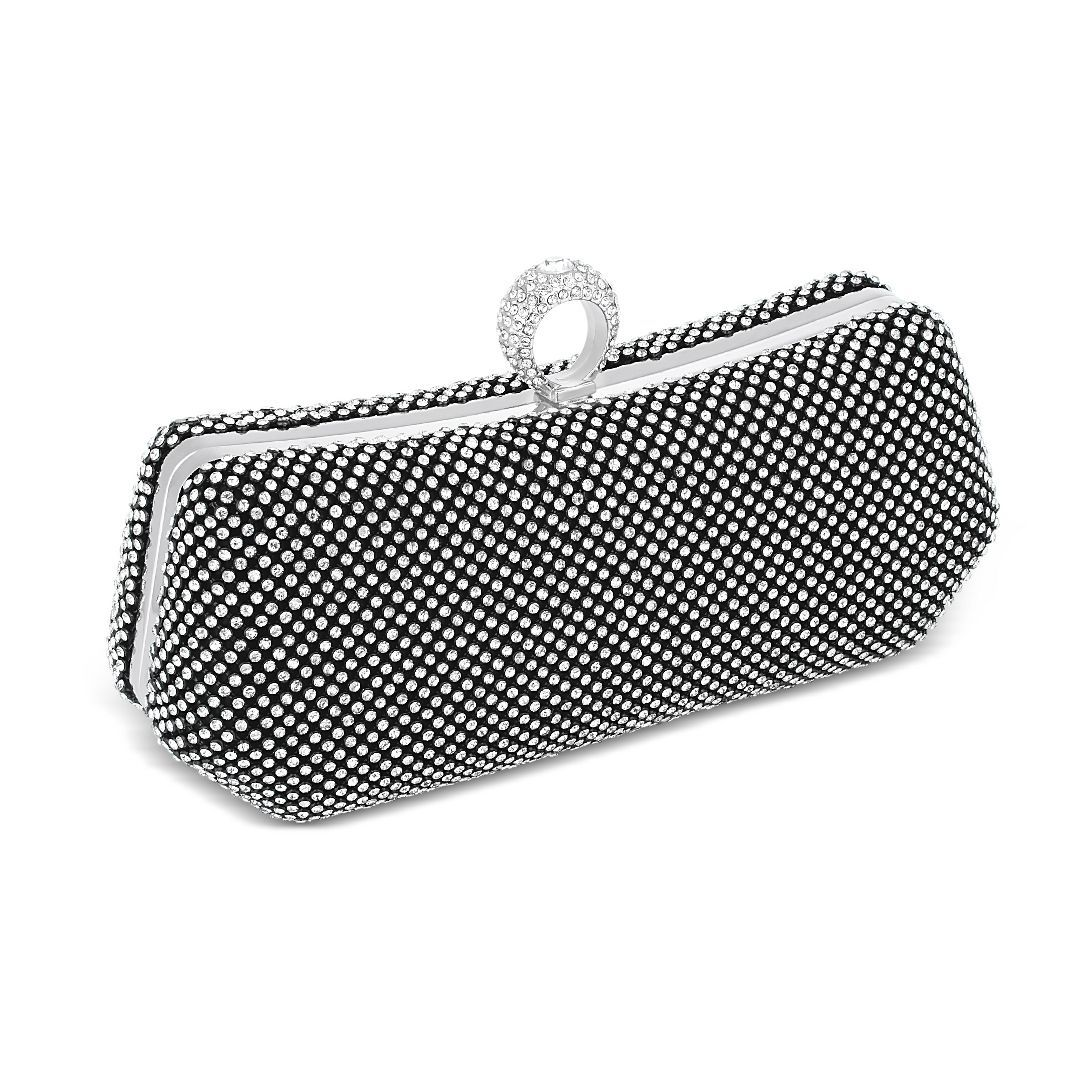 Online Exclusive Diamante Ring Clasp Clutch Bag