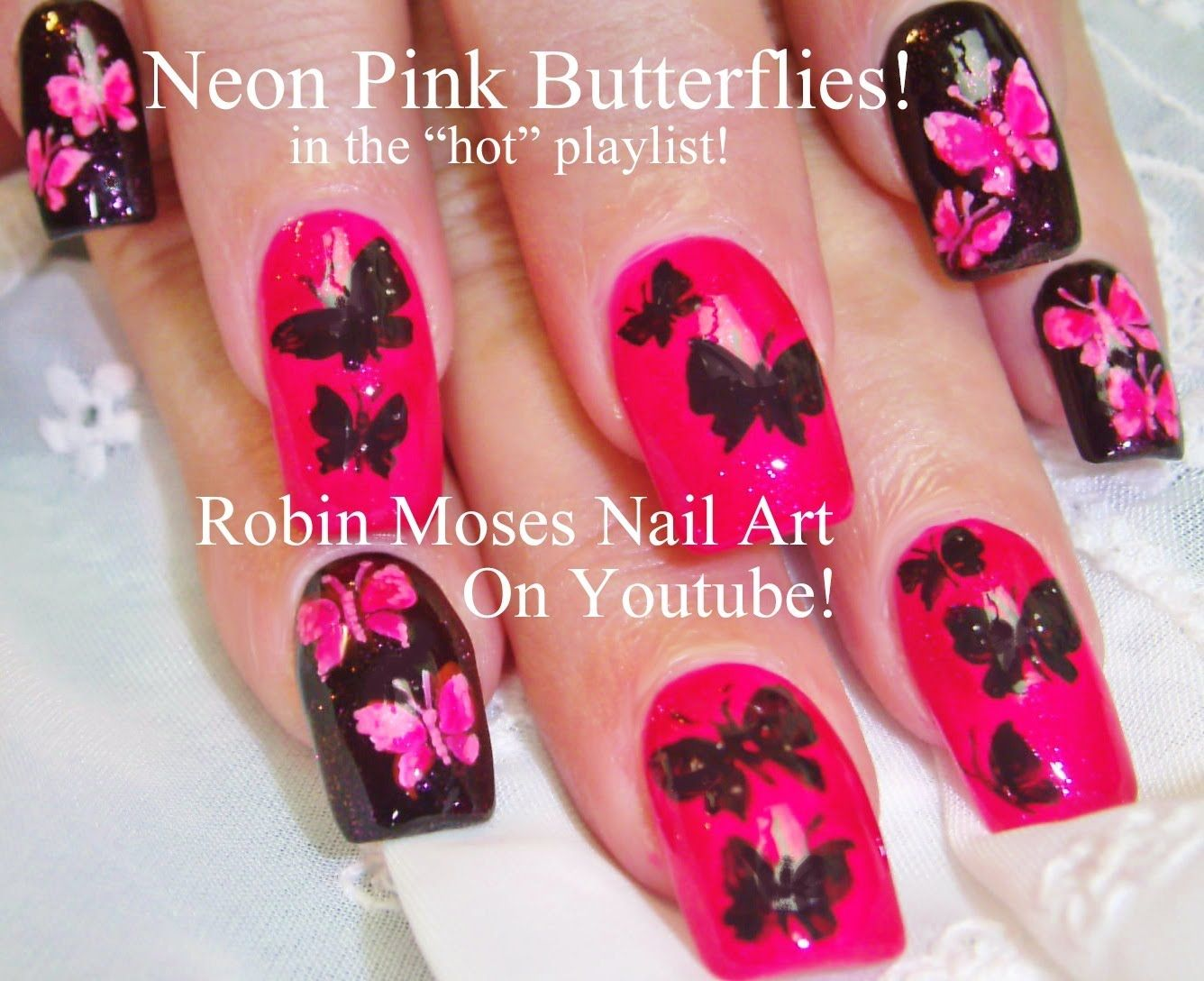 Pink and black butterfly nail art robin moses nail art videos pink and black butterfly nail art solutioingenieria