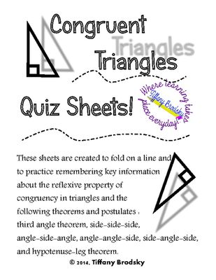 Congruent Triangles Quiz Sheet for High School and Adult