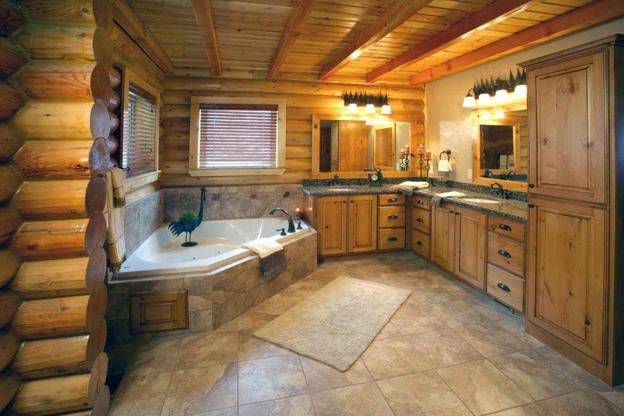 Classic Chalet Luxury Log Cabin Log Cabin Bathrooms Cabin Bathrooms Lake House Bathroom