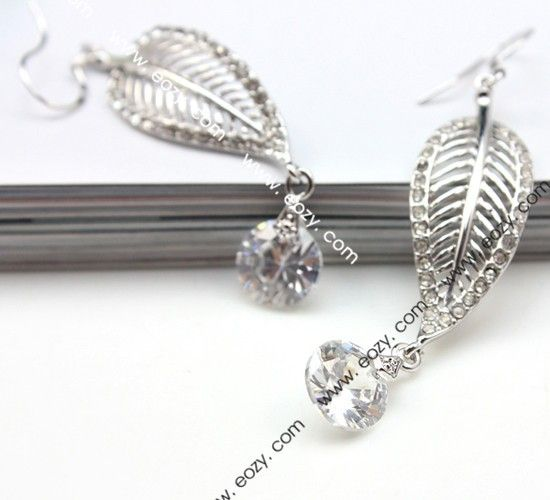 60x12mm 925 Sterling Silver Charm Crystal Leaf Dangles Eardrop Earring