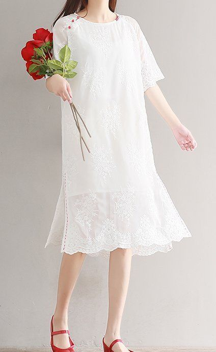 Women Loose Fit Over Plus Size Flower Lace Ethnic Dress